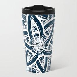 Authentic white mandala on blue Travel Mug