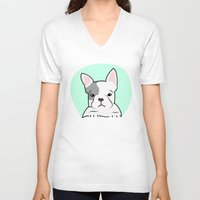 frenchie V-neck T-shirts featuring Frenchie by Pati Designs