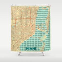 Miami Map Retro Shower Curtain