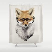 hipster Shower Curtains featuring Mr. Fox by Isaiah K. Stephens