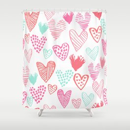 Hearts hand drawn heart pattern valentines day love gifts home decor hipster girls Shower Curtain