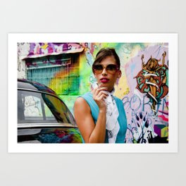 Woman and graffitti Art Print