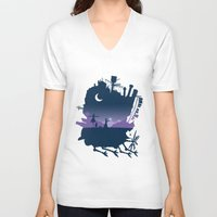 calcifer V-neck T-shirts featuring Sophie and Calcifer by maped