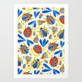 Ladybug Botanical  Art Print