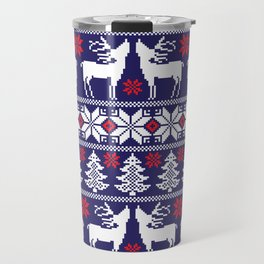 Christmas pixel Blue pattern with xmas tree, snowflakes and deers Travel Mug