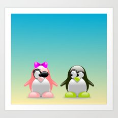 two little penguins Art Print