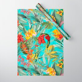 Vintage & Shabby Chic - Pierre-Joseph Redouté -Colorful Tropical Blue Garden Wrapping Paper