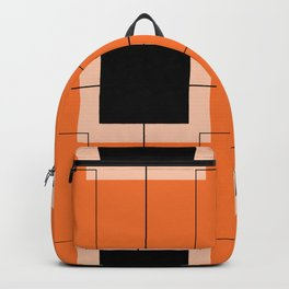 White Hairline Squares in Orange Backpack