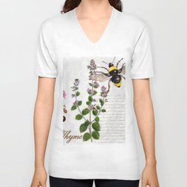 Cottage Style Thyme, Bumble Bee, Hummingbird, Herbal Botanical Illustration Unisex V-Neck