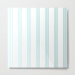 Striped I - Turquoise stripes on white - Beautiful summer pattern Metal Print