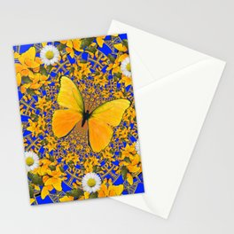 BUTTERFLY GREEN FROGS WHITE DAISIES BLUE MANDALA Stationery Cards