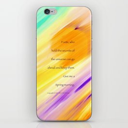 """Catch The Sun"" with poem: Spring Morning iPhone Skin"