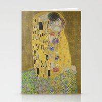 gustav klimt Stationery Cards featuring The Kiss - Gustav Klimt by Elegant Chaos Gallery