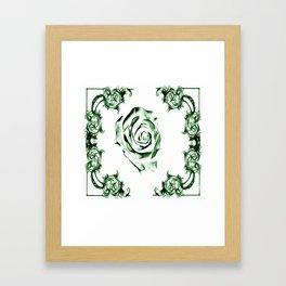 green damask rose Framed Art Print