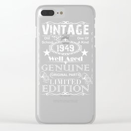 70th Birthday Gift print Vintage 1949 Year Gift product Clear iPhone Case