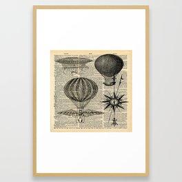 newspaper print victorian steampunk airship plane hot air balloon Framed Art Print