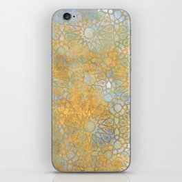 gold arabesque vintage geometric pattern iPhone Skin