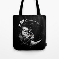 rockabilly Tote Bags featuring Rockabilly moon by Kabay