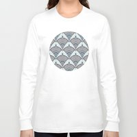 deco Long Sleeve T-shirts featuring Deco Doodle in Aqua, Cream & Navy Blue by micklyn