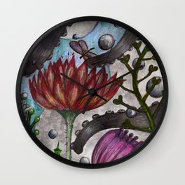 octopus and flowers Wall Clock