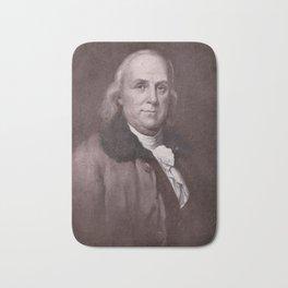 Vintage Benjamin Franklin Portrait Bath Mat