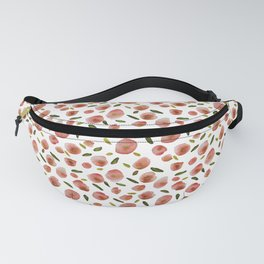 Poppies Hand-Painted Watercolors in Rose Pink on White Fanny Pack