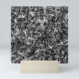 Grunge Cross Hatch Texture , Bold Monochrome in Black & White Mini Art Print