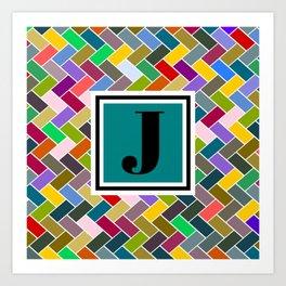 J Monogram Art Print