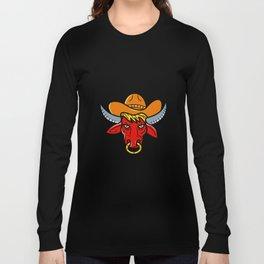 Bull Cowboy Hat Mono Line Art Long Sleeve T-shirt