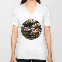 duck V-neck T-shirts featuring Duck by Anand Brai