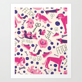 Park dogs in Pink Art Print