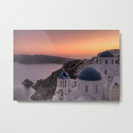 Oia Sunset in Santorini, Greece Metal Print