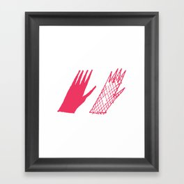 Hand and glove Framed Art Print