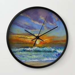 Malibu Beach Sunset Wall Clock
