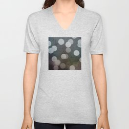 Charcoal Gray and Cream Bokeh Dots Pattern Unisex V-Neck