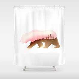 Bear - Desert and Cactuses - California Flag Shower Curtain