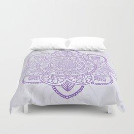 Lavender Mandala on White Marble Duvet Cover