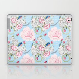Bluebirds and Watercolor roses on pale blue with white French script Laptop & iPad Skin