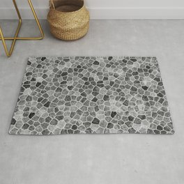 The Paths Taken Black and White Cobblestone Pattern Rug