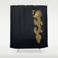 dragon ball z Shower Curtains featuring Gold Dragon Ball Z Shen long Art iPhone 4 4s 5 5c, ipod, ipad, tshirt, mugs and pillow case by Three Second