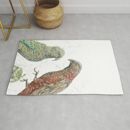 Three native parrots of New Zealand Rug