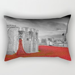 Tower of London Red Poppies Rectangular Pillow