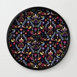 Dark Folk Milk Maid Pattern Wall Clock