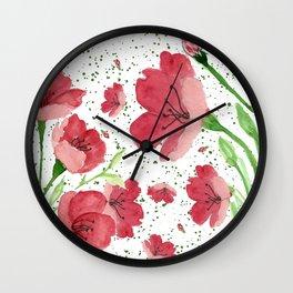 red flowers pattern Wall Clock