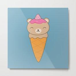 Kawaii Cute Brown Bear Ice Cream Metal Print