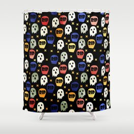 Ghost and Gravestone Halloween Shower Curtain