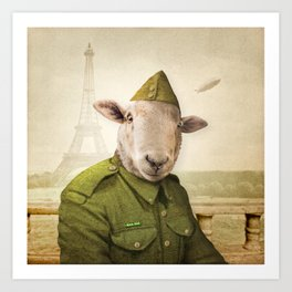 Private Leonard Lamb visits Paris Art Print