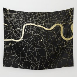 London Black on Gold Street Map Wall Tapestry