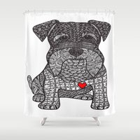 schnauzer Shower Curtains featuring Spunky - Schnauzer by DiAnne Ferrer