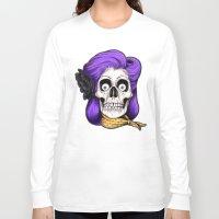 rockabilly Long Sleeve T-shirts featuring Rockabilly Skull by Mark Matlock